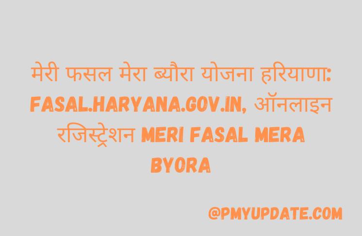 मेरी फसल मेरा ब्यौरा योजना | मेरी फसल मेरा ब्यौरा योजना रजिस्ट्रेशन 2021 | Meri Fasal Mera Byora | fasal.haryana.gov.in Meri Fasal Haryana Registration